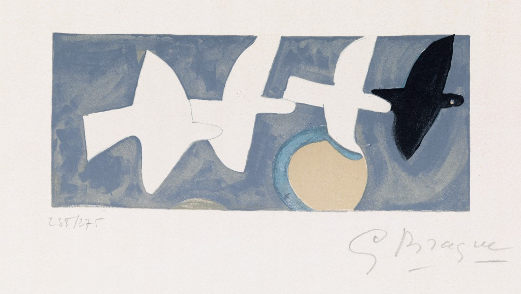 Georges Braque, Quatre oiseaux, color lithograph, circa 1950. Estimate $2,500 to $3,500.