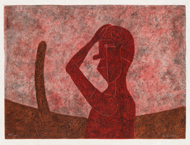 Lot 320: Rufino Tamayo, Busto en Rojo, mixografía, 1984.