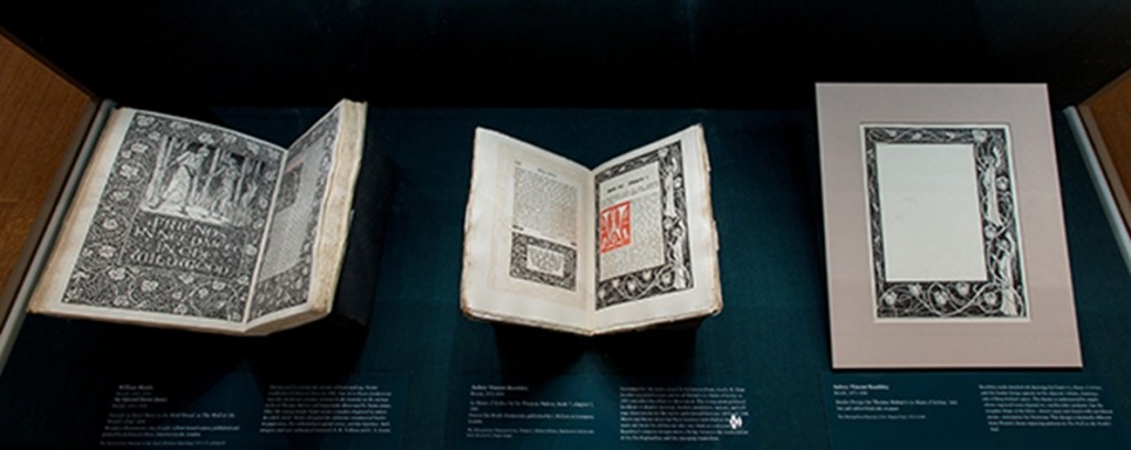 Well at the World's End, Kelmscott Press, far left; Le Morte d'Arthur, center; a loose border by Beardsley, far right. Metropolitan Museum of Art, 2014.