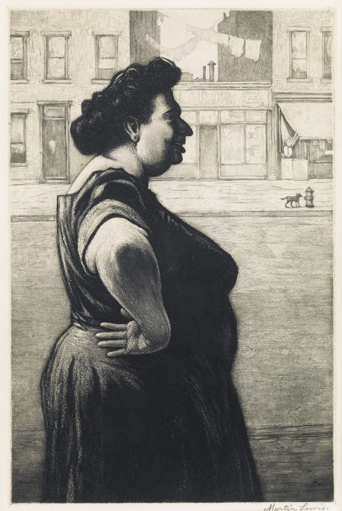 Lot 182: Martin Lewis, Boss of the Block, etching and aquatint, circa 1939. Estimate $1,500 to $2,500.