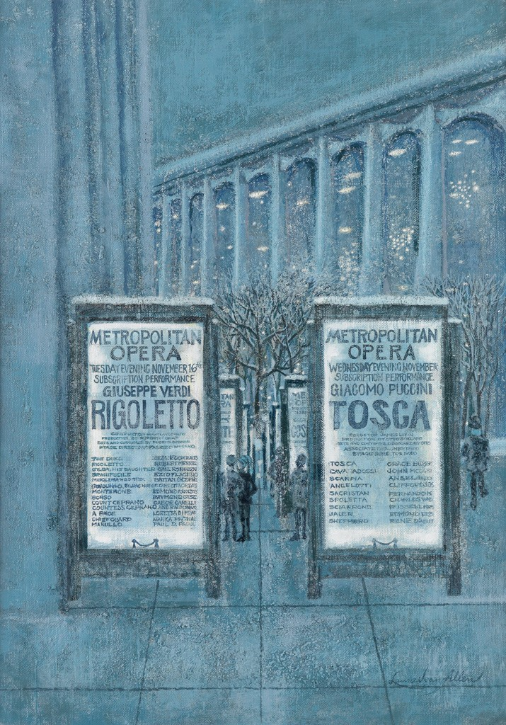 Lot 273: Laura Jean Allen, Metropolitan Opera in the Snow, acrylic on canvas, published January 23, 1973. Estimate $800 to $1,200.
