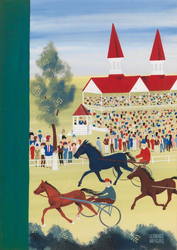 Lot 303: Leonard Weisgard, Horse Races, gouache and colored pencil, circa 1937. Estimate $800 to $1,200.