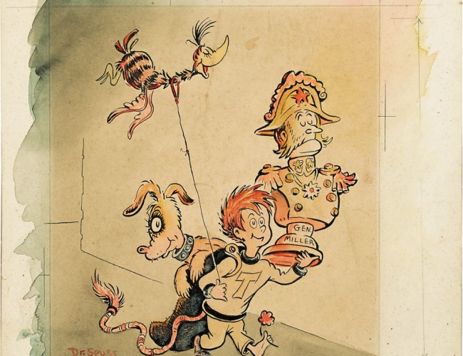Lot 95: Dr. Seuss, Tadd and Todd, ink and watercolor, 1950. Estimate $12,000 to $18,000.