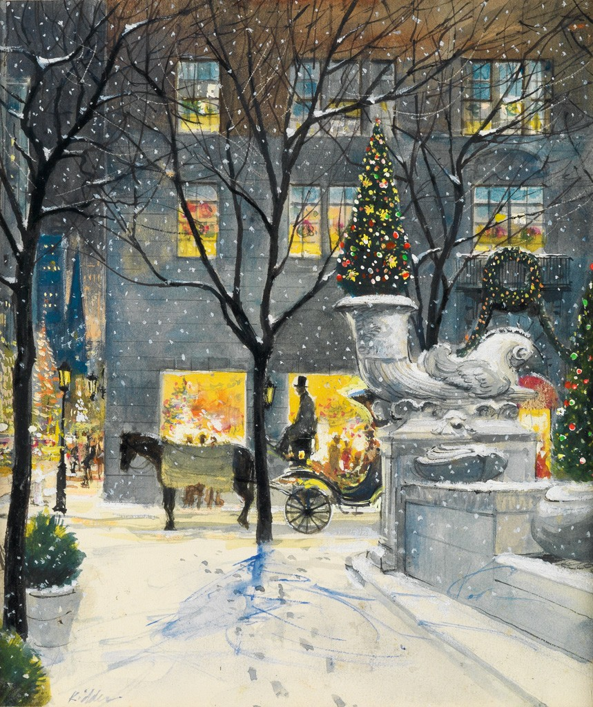 Harvey Kidder, Christmas Eve in New York (Plaza Hotel), watercolor, ink and gouache, circa 1975. Sold September 29, 2016 for $3,000, an auction record for the artist.
