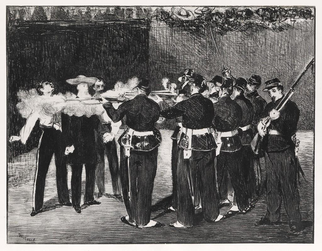 (53) Edouard Manet, L'Exécution de Maximilien, lithograph, 1868. Estimate $50,000 to $80,000.