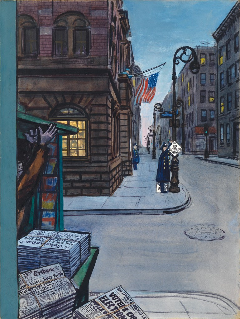 Lot 279: Arthur Getz, Election Morning, casein tempera, published November 1, 1952. Estimate $3,000 to $5,000.