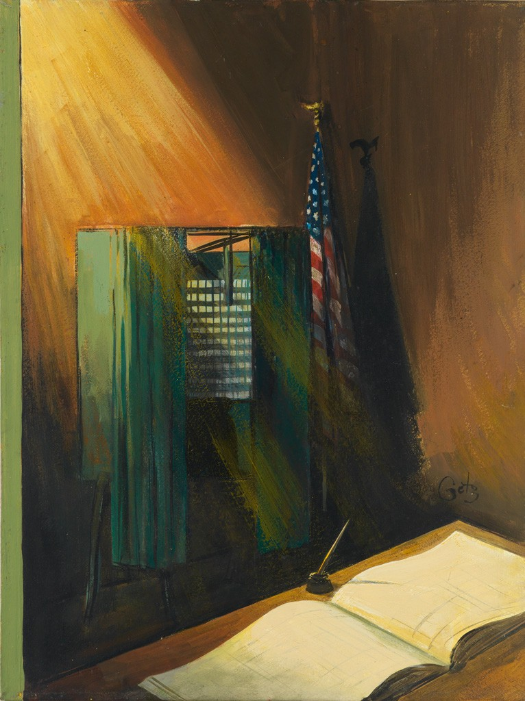 Lot 280: Arthur Getz, Voting Booth, casein tempera, published Novermber 3, 1962. Estimate $2,500 to $3,500.