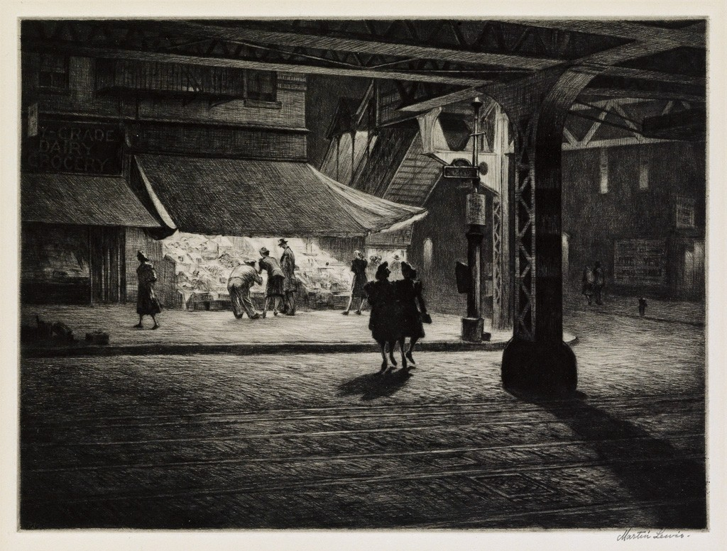Lot 179: Martin Lewis, Yorkville Night, drypoint, 1947. Price realized: $35,000.