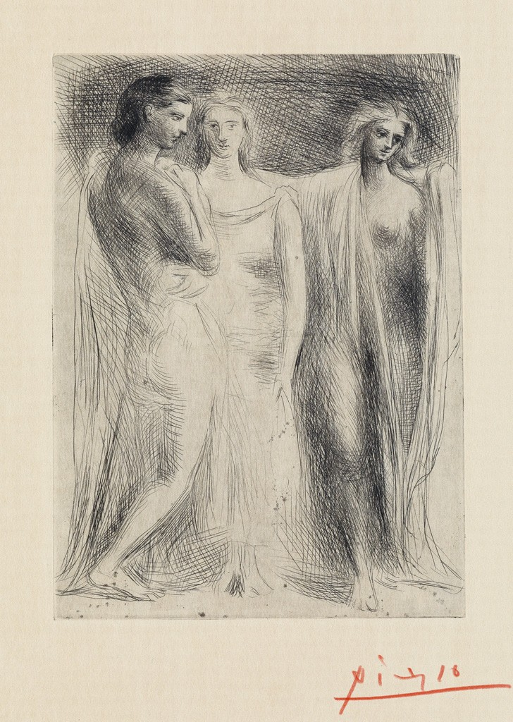 Lot 333: Pablo Picasso, Les trois femmes, etching, 1922. Price realized: $40,000.