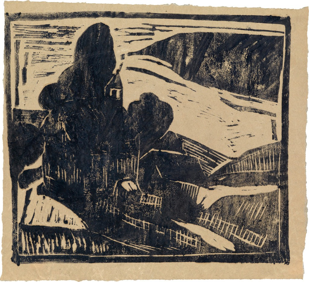 Lot 18: W.H. Johnson, Church by Lake II, woodcut, circa 1935-38. Estimate $7,000 to $10,000.