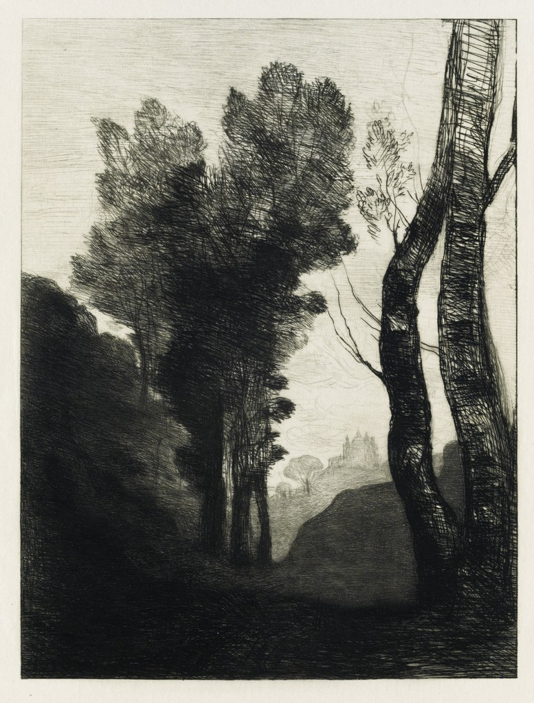 (14) Jean-Baptiste-Camille Corot, Environs de Rome, etching, 1866. Estimate $1,500 to $2,500.