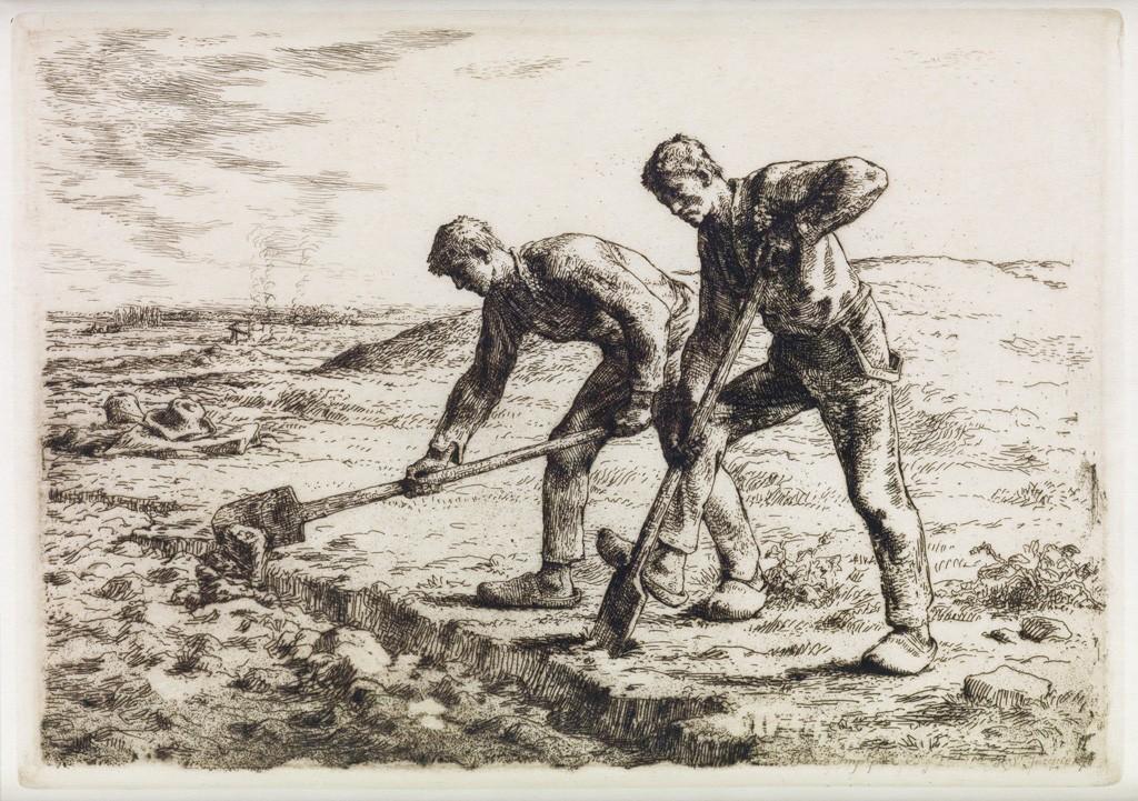 (12) Jean-François Millet, Les Becheurs, etching, 1855-56. Estimate $2,000 to $3,000.