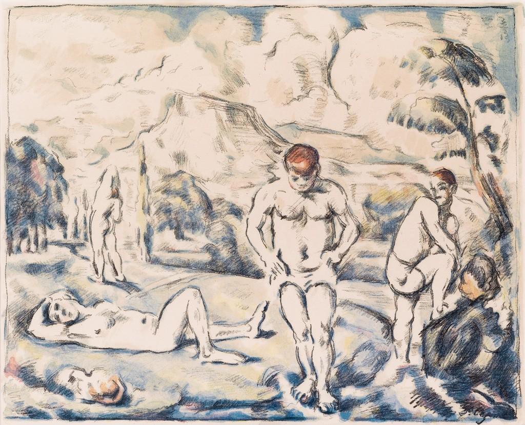 (92) Paul Cézanne, Les Baigneurs (grande planche), color lithograph, 1896-98. Estimate $20,000 to $30,000.