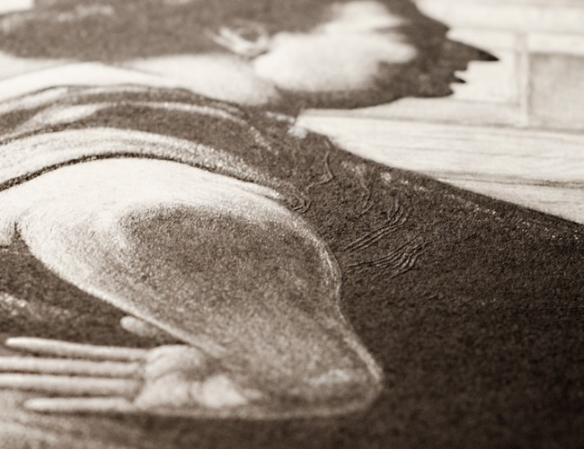 Lot 182: Martin Lewis, Boss of the Block (detail), etching and aquatint, circa 1939. Estimate $1,500 to $2,500.