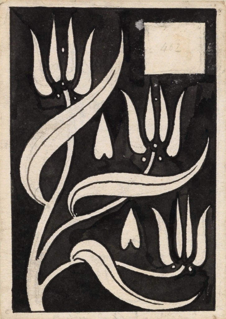 Lot 5: AUbrey Beardsley, Three Stylized Clematis Flowers, pen and ink, 1893-94. Estimate $3,000 to $4,000.