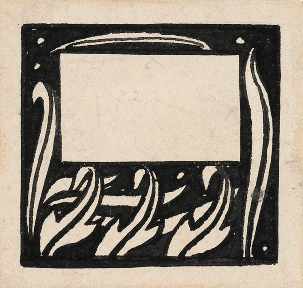 Lot 7: Aubrey Beardsley, Three Stylized Leaves, group of two, pen and ink, 1893-94. Estimate $1,200 to $1,800.