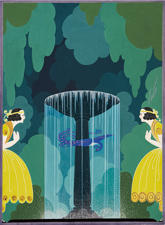 Erté, La Cage Improvisée, gouache, 1922. Sold September 29, 2016 for $45,000, an auction record for the artist.