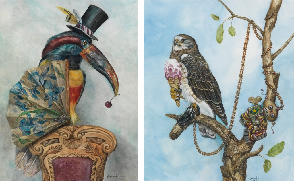 Wallace Edwards, Fancy Falcon and Dandy Toucan, watercolor and ink, 2003. Together sold September 29, 2016 for $1,820, an auction record for the artist.