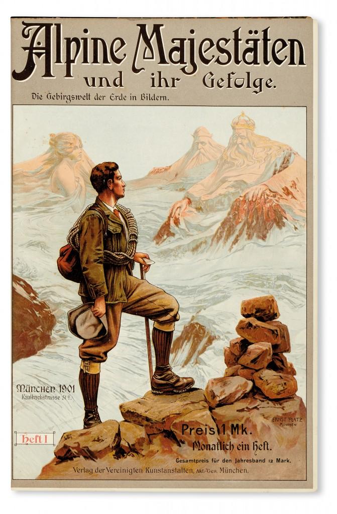 Lot 300: August Rothpletz, et al, Alpine Majestäten und ihr Gefolge: Die Gebirgswelt der Erde in Bildern, Munich, 1901-04. At auction October 18, 2016. Estimate $200 to $300.