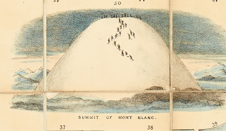 Lot 311: Albert Smith, The New Game of the Ascent of Mont Blanc, circa 1852. At auction October 18, 2016. Estimate $2,000 to $3,000.
