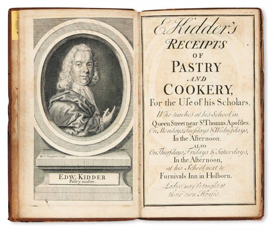 Lot 33: Edward Kidder, Receipts of Pastry and Cookery, For the Use of his Scholars. Who teaches at his School in Queen Street, near St. Thomas Apostles, London, 1733-34. Estimate $2,000 to $3,000.