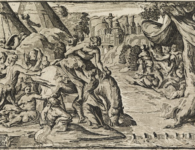 Lot 65: Nicolò Vicentino, after Maturino, Clelia Crossing the Tiber, chiaroscuro woodcut. Estimate $2,000 to $3,000.