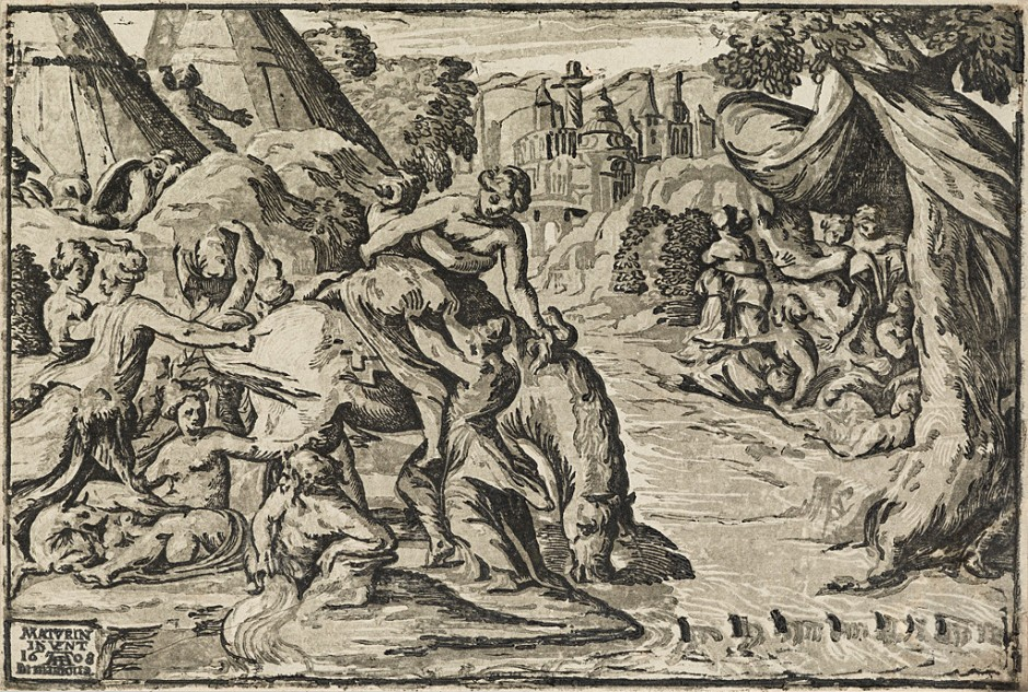 Lot 65: Nicolò Vicentino, after Maturino, Clelia Crossing the Tiber, chiaroscuro woodcut. Estimate $2,000 to $3,000.