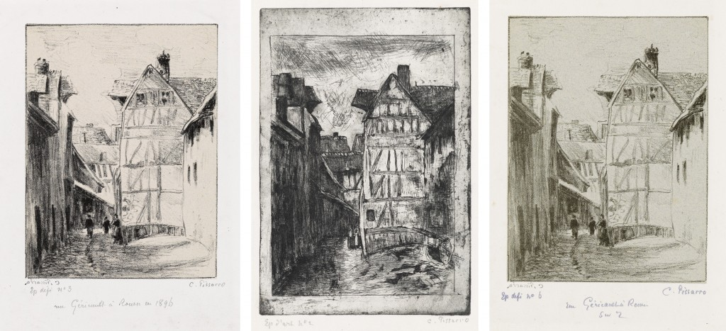 Lots 285, 286 & 287: Camille Pissarro, Rue Géricault, à Rouen, 1896. Each estimate $6,000 to $9,000. Lot 285, etching; Lots 286 & 287, lithograph.