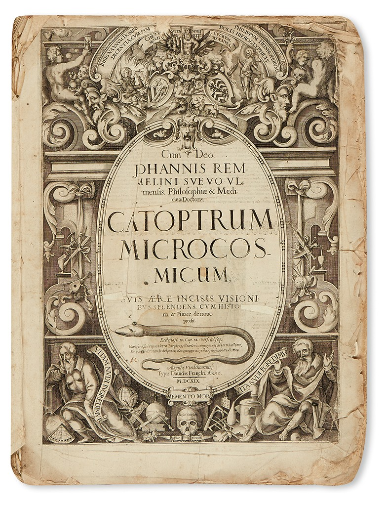 Lot 140: Johann Remmelin Catoptrum microcosmicum, Augsburg, 1619. Estimate $800 to $1,200.