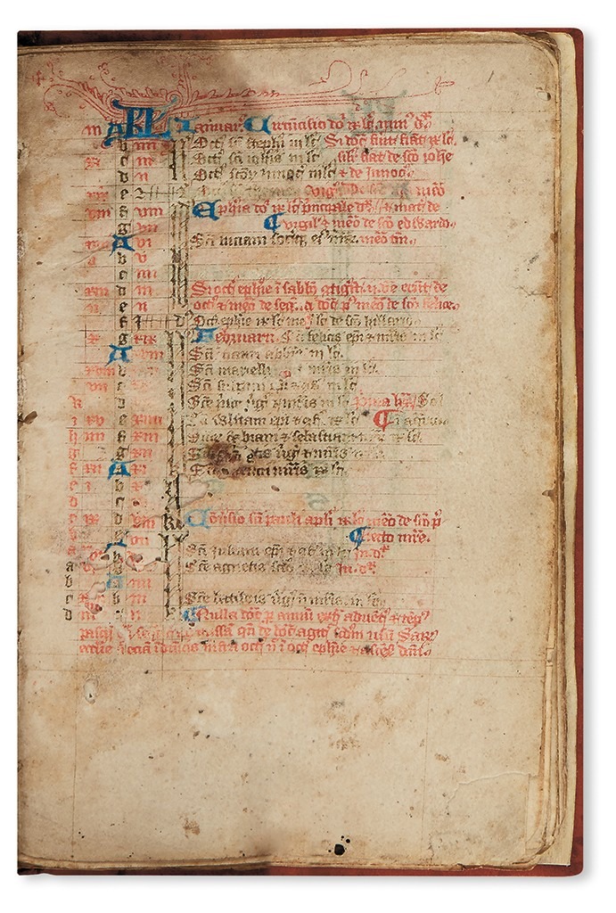 Lot 83: Psalter with calendar, litany, and miscellaneous texts, manuscript on vellum, England, 14th century. Sold for $8,450.