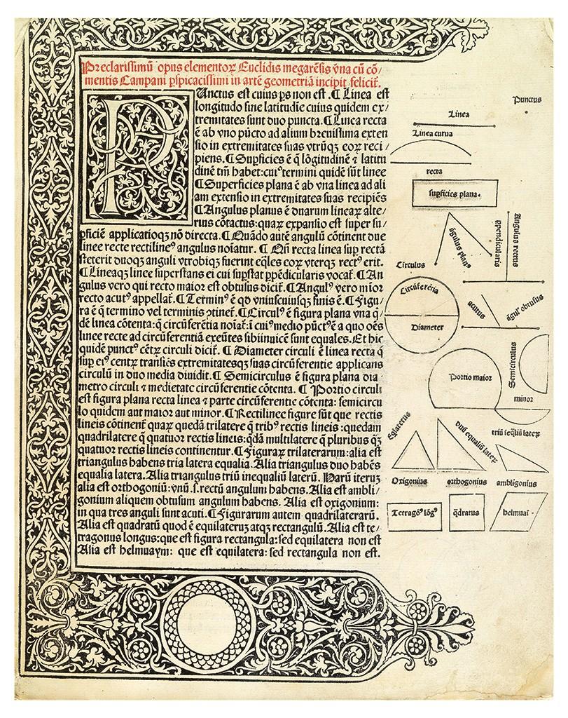 Lot 147: Euclid, Elementa geometriae, Venice, 1482. Sold for $62,500.