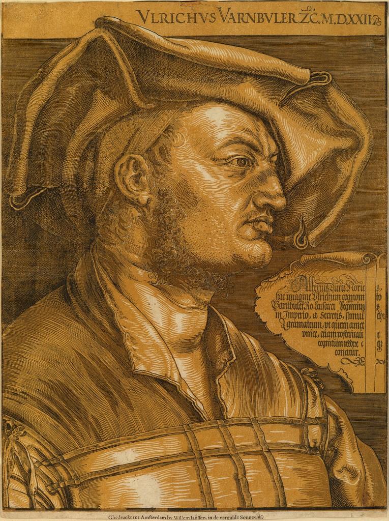 Lot 36: Albrecht Dürer, Ulrich Varnbüler, chiaroscuro woodcut, 1522. $40,000 to $60,000.