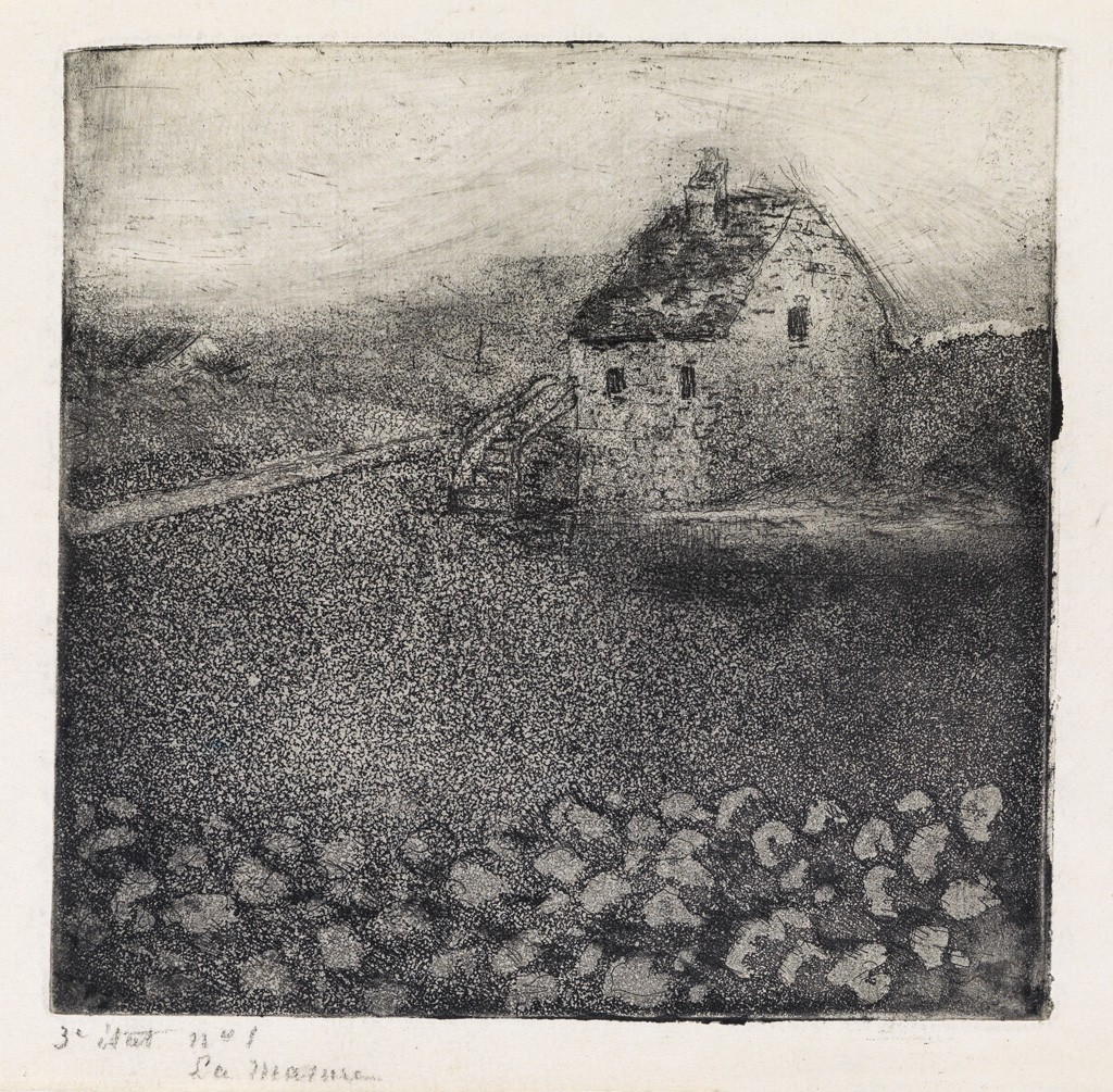 Lot 254: Camille Pissarro, La Masure, etching and aquatint, 1879. Estimate $15,000 to $20,000.