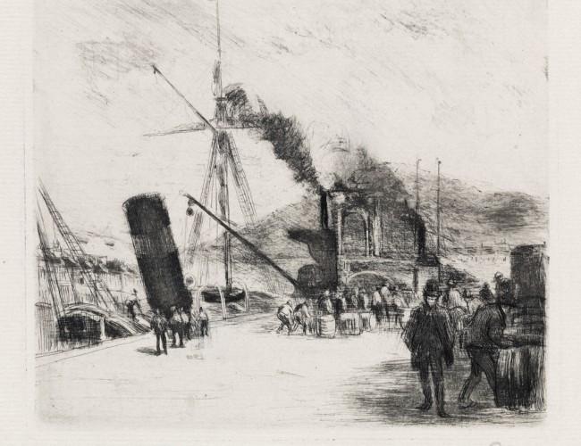 Lot 277: Port de Rouen (avec cheminées), drypoint, 1885. Estimate $8,000 to $12,000.