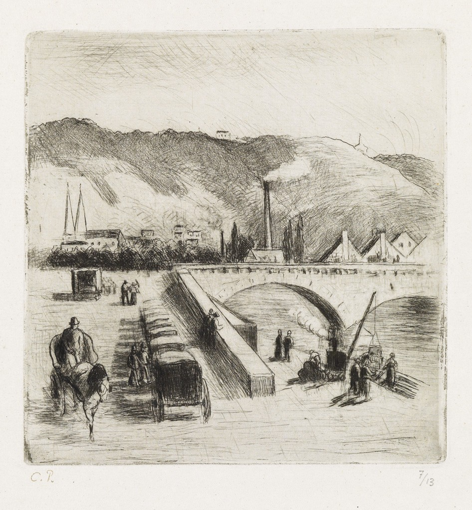 Lot 283: Camille Pissarro, Quai de Paris, à Rouen, etching and drypoint, 1896. Estimate $2,000 to $3,000.