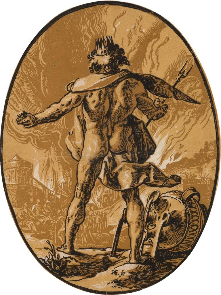Lot 77: Hendrick Goltzius, Pluto, chiaroscuro woodcut, circa 1588-90. Estimate $6,000 to $9,000.