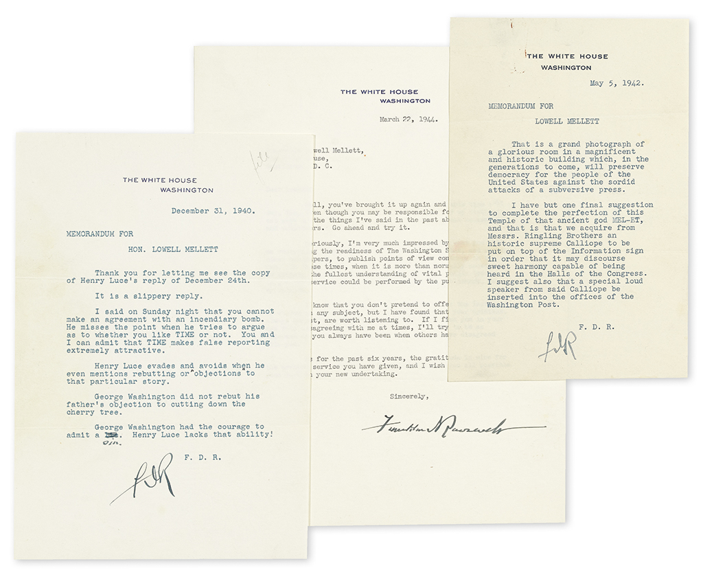 "Lot 175: Group of three Typed Letters Signed, ""FDR"" or ""Franklin DRoosevelt,"" as President, to journalist Lowell Mellett, concerning Henry R. Luce and other publishers, and personal topics. Estimate $3,500 to $5,000."