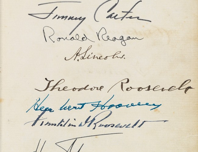 Lot 118: Album with more than 130 Civil War-era signatures, including Abraham Lincoln and his cabinet, and signed by 18 Presidents, 1864-2010. Estimate $60,000 to $90,000.