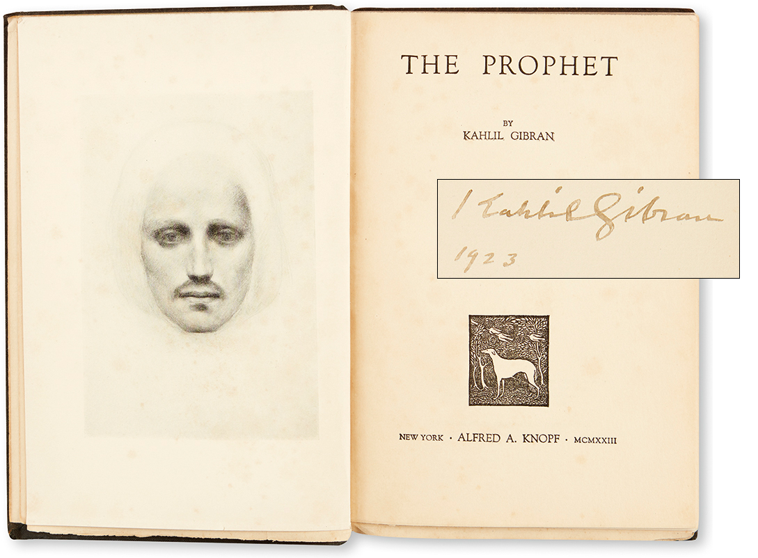 Lot 133: Kahlil Gibran, The Prophet, signed first edition, New York, 1923. At auction November 10, 2016. Estimate $6,000 to $9,000.