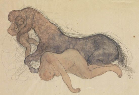 Kahlil Gibran, Rape by a Centaur, watercolor and pencil, 1916. Sold March 8, 2012 for $22,800.