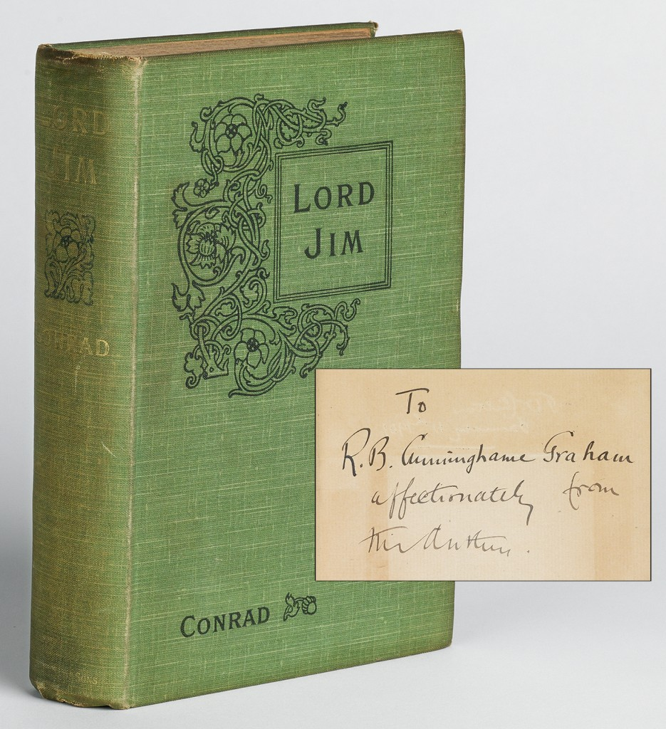 Lot 68: Joseph Conrad, Lord Jim, first edition, inscribed to R.B. Cunninghame-Graham, London & Edinburgh, 1900. Sold November 10, 2016 for $16,250.