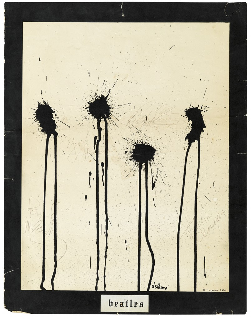 "Lot 59: Poster signed by each member of the Beatles, with Ringo Starr signing next to the shortest inkblot with the addition ""5'7"" (indicating his height), 1964. Sold for $5,750."