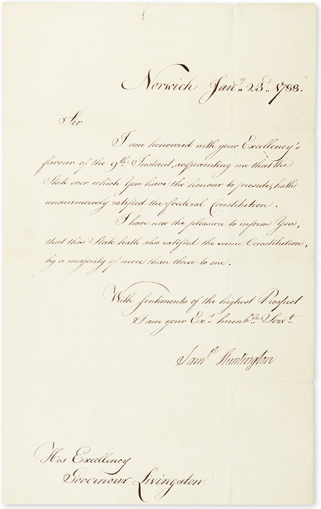 Lot 26: Samuel Huntington, Letter Signed, as Governor, to NJ Gov. William Livingston, informing him that CT ratified$36,400 D the U.S. Constitution, 23 January 1788. Sold for $36,400.