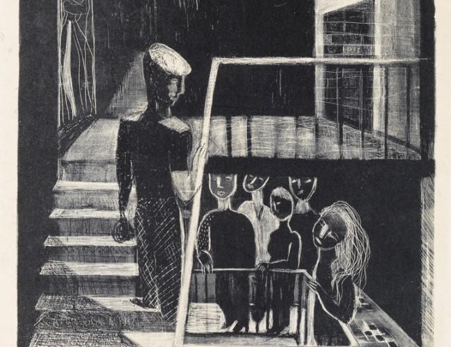 Lot 33: Louise Bourgeois, Escalier de 63, lithograph, 1939. Estimate $3,000 to $5,000.