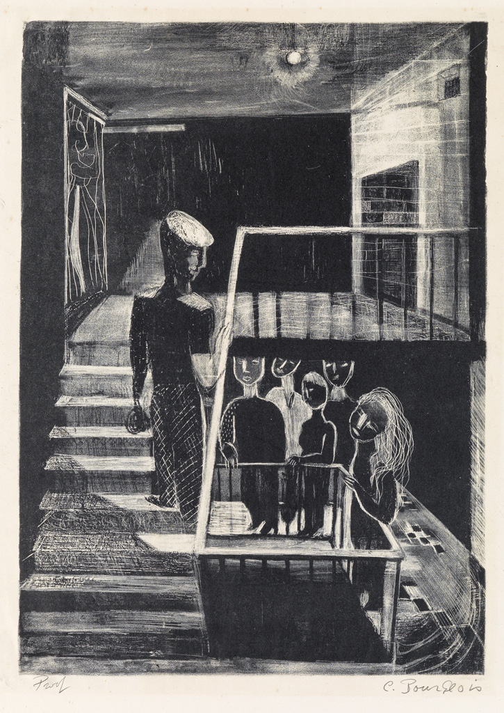 Lot 33: Louise Bourgeois, Escalier de 63, lithograph, 1939. Estimate $3,000 to $5,000.