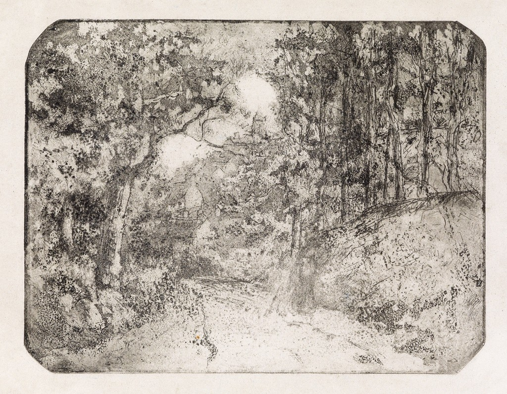 Lot 253: Camille Pissarro, Chemin sous bois à Pontoise, aquatint and etching, 1879. Sold for $40,000.