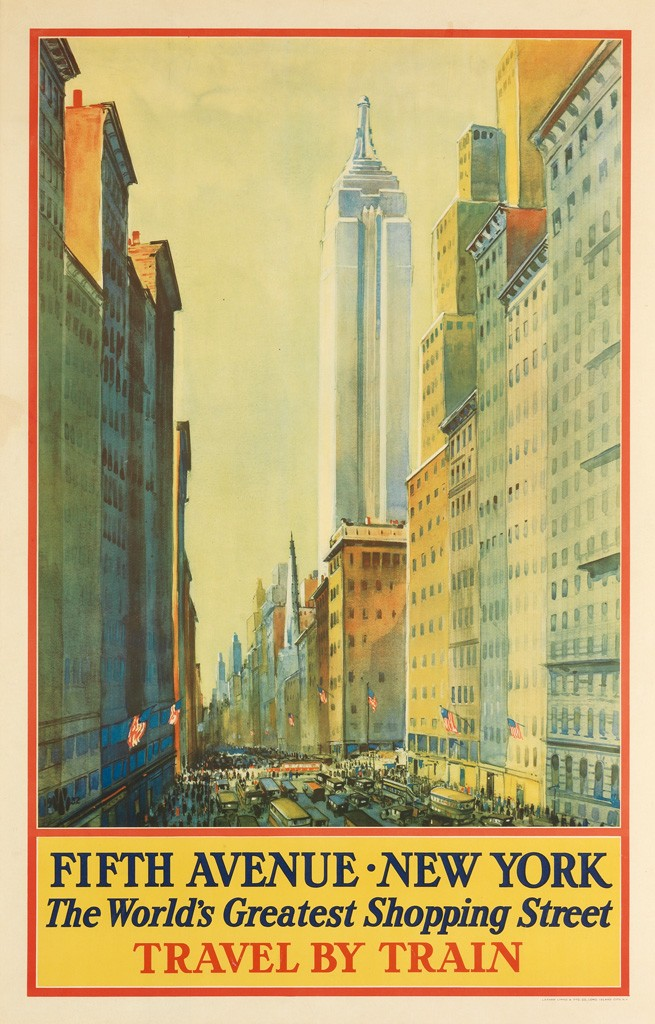 Lot 2427: Frederic Kimball Mizen, Fifth Avenue - New York / The World's Greatest Shopping Street, 1932. Sold for $6,250.