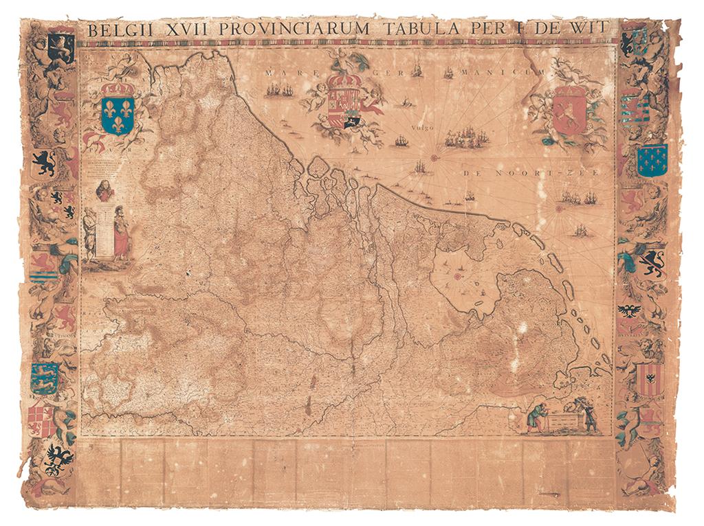 Lot 40: Frederick De Wit, Belgii XVII Provinciarum Tabula Per F. De Wit, engraving, previously unknown first state, Amsterdam, circa 1670. Estimate $10,000 to $15,000.