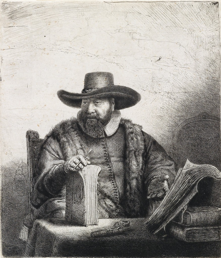 Lot 158: Rembrandt van Rijn, Cornelis Claesz Anslo, Preacher, etching and drypoint, 1641. Sold for $60,000.