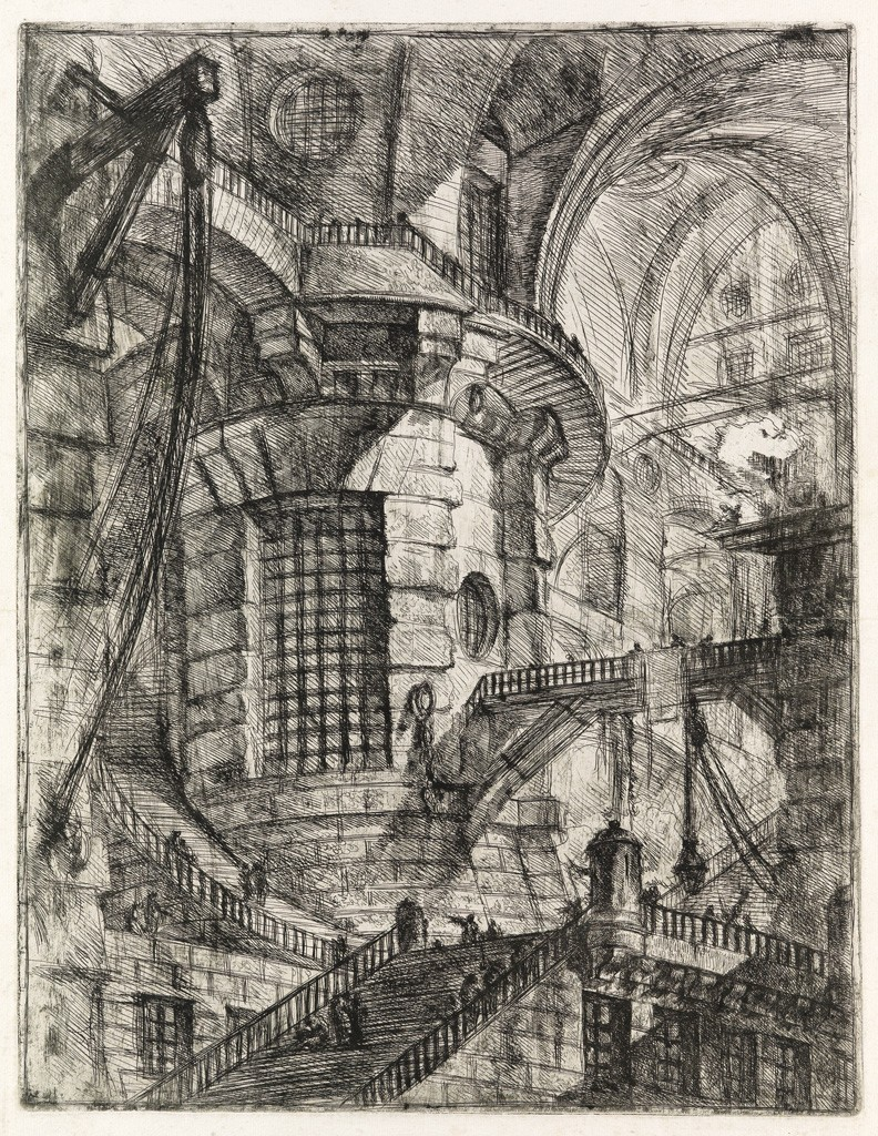 Lot 208: Giovanni Piranesi, The Round Tower, Etching, engraving and burnishing, circa 1749. Sold for $52,000.